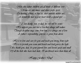 Father's Day Poem Digital Print, Downloadable Father's Day Poetry, Original Father's Day Poem for Dad, Christian Father's Day Tribute Print