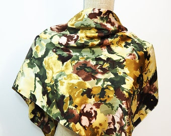 Yellow Scarf, Brown Scarf, Pink Scarf, Golden Scarf, Olive Scarf, Green Scarf, Square Scarf, Floral Scarf, Summer Scarf, Light Scarf
