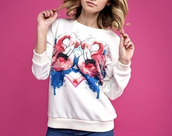 Sweatshirt flamingo, women sweatshirt