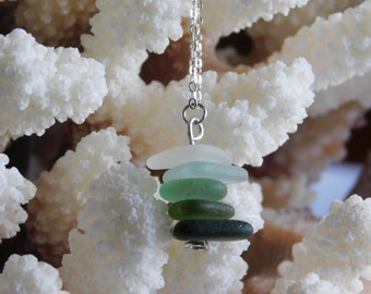 Seaglass: Ombre Seaglass Stack Necklace