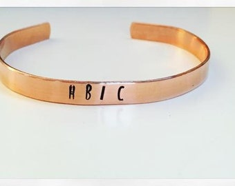 HBIC Hand Stamped Metal Jewelry Bracelet Cuff