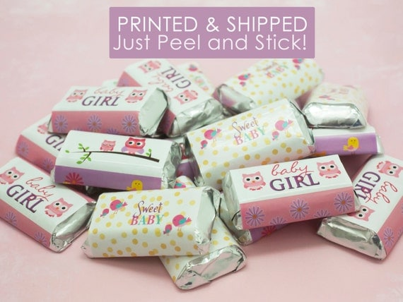 pink owl girl baby shower decorations party favor stickers for hershey