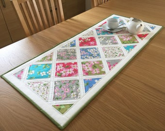 Floral table runner, pretty quilted table runner, patchwork table runner, rose table topper, table centrepiece, floral table topper,