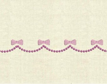 Machine embroidery borders with bows