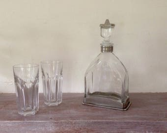 Vintage Crystal and pewter decanter