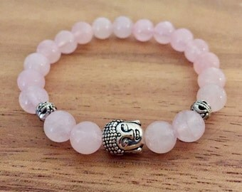 Rose Quartz Silver Buddha Bead Charm Bracelet Buddha Charms Elastic Bracelets Beaded