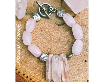 Amethyst & Crystal Quartz Cluster Bracelet