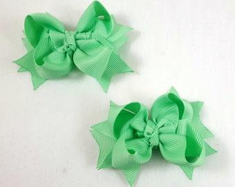 Mint Green Mini Hair BowS-Set of 2/Piggy Tail Bows/Little Girl Hair Bow/Toddler Hair Bow/Accessory/ Mint Green Hair Bow/Stack Hair Bow