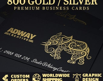 800 gold foil single sided business cards