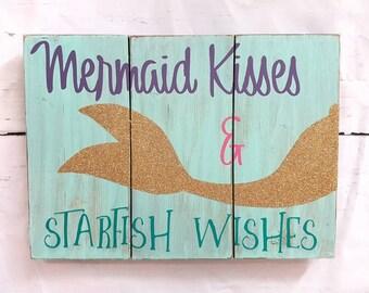 mermaid kisses and starfish wishes mermaid wood sign mermaid kisses starfish wishes - Mermaid Home Decor