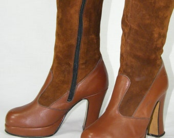 Vintage Leather Boots from 1970s Size 36