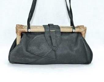 Vintage,HAND MADE,geniue leather and wooden