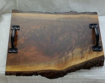Walnut Live edge Serving Tray with Bark attached