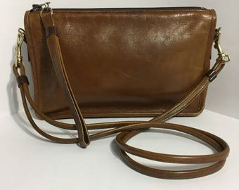 Brown Leather Purse - Genuine Leather - Leather Cluthe - Shoulder Purse - Italy