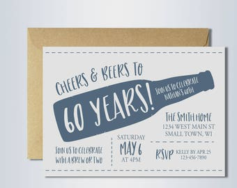 60th birthday invitation | cheers and beers | cheers to 60 years | beer party | digital invitation template