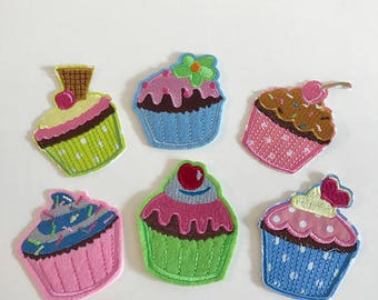 Set 6 stuks - Cup Cake patches - Iron On