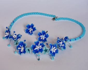 Blue flower jewelry, handmade jewelry, unique jewelry, botanical earrings, botanical jewelry, jewelry with blue flowers