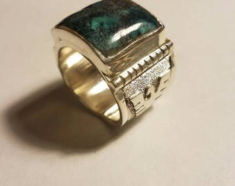 Sterling Silver and Royston Turquoise Thunderbird Ring
