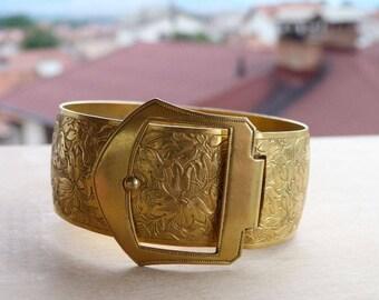 GREAT Vintage Stamped Bracelet with Buckle 1960s Old Bracelet Bulgarian Vintage Old Jewelry Boho Gypsy Unusual Bracelet Evcellent Quality