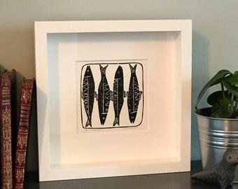 Sardines Hand Printed Lino Cut Print Black (Framed)