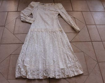 Vintage RICKI LANG for Nuit Ivory Lace Dress     Sz 12