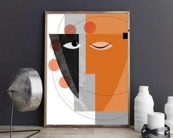 Serenity : Modern faces geometric abstract art print