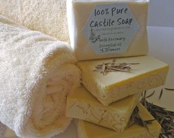 Castile Soap, Rosemary Castile Soap Bar, Soap for Sensitive Skin, Limited Ingredients, Natural, Vegan, Olive Oil, Gifts for her