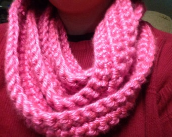 Pink Crocheted Infinity Scarf
