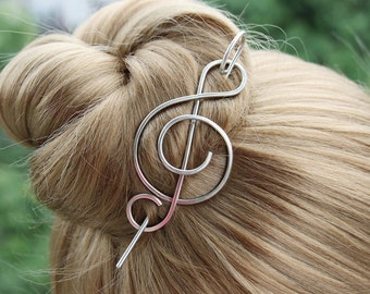 Silver Hair Clip Hair Stick, Hair Barrette Music Note Hair Slide Hair Pin, Treble Clef Shawl Pin Scarf pin, Fastener, Closure, Musician Gift
