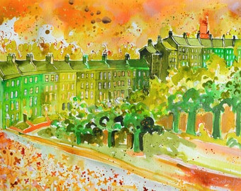 LANSDOWN, Bath Print, Pen and Ink drawing, Georgian England, Bath, Large Art Print From Original Acrylic Painting by Sasha Barnes