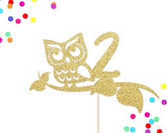 Owl Age Cake Topper | Owl Cake Topper | Owl Birthday Cake Topper | Owl Party Decorations | Birthday Party | Glittery Gold Owl Cake Topper