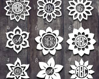 Flower Monogram Decal  Personalized Decal  Monogram Decal - Monogram decal for car window
