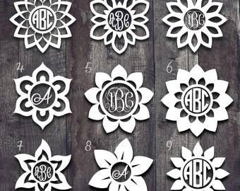 Monogram Flower Decal| Flower Monogram Decal| Monogram Yeti Decal| Monogram Car Window Decal