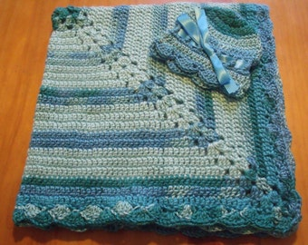 """NEW Handmade Crochet 28"""" Baby Blanket and Hat/Beanie Set - Sea Blue & Aqua Variegated - A Wonderful Baby Shower Gift!! - SEE NOTE!"""