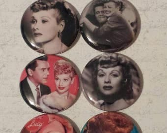 8- 1 inch  I Love Lucy Lucille Ball Buttons