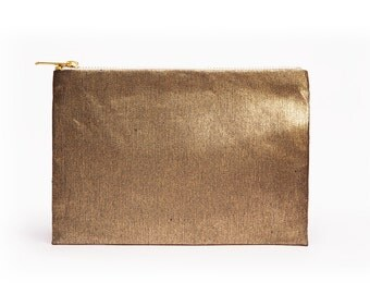Gold Denim Clutch