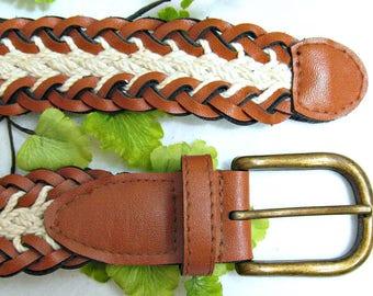 woven belt, brown belt, vegan flax leather belt - buckle belt, braided belt, casual belt, western belt, Size Waist up to 35 , # 84