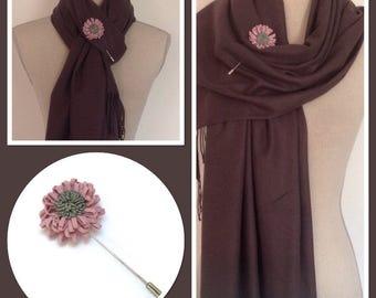 Dark Grey With Decorative Pin Wrap Pashmina Shawl Scarf Party Weddings Gift Idea
