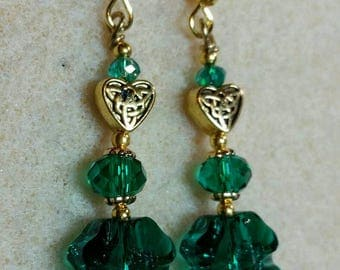 St. Patrick's Day Shamrock earrings, crystal