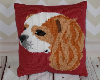Knitting Pattern PDF Download - Blenheim Cavalier King Charles Spaniel Pet Portrait Pillow Cushion Cover