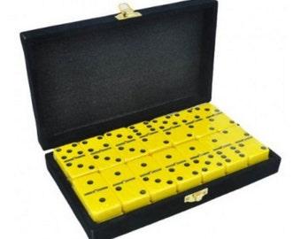 Yellow Engraved Dominoes in Velvet Box with Spinner