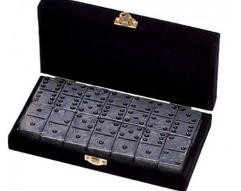 Double 6 Silver Engraved Dominoes in Velvet Box