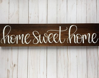 Home Sweet Home Sign, Housewarming Gift, Rustic Wood Sign, Wooden Sign, Rustic Wall Decor, Entryway Decor, Foyer Decor, Wooden Wall Decor