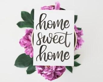 Home Sweet Home Print, Rustic Wall Decor, Farmhouse Sign Foyer Decor Housewarming Gift Watercolor Print Wall Print Modern Wall Art Home Sign