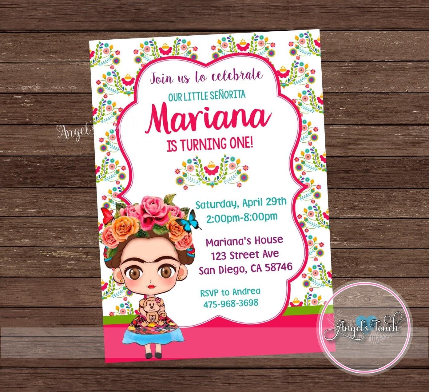 Fiesta Party Invitation, Frida Birthday Invitation Chalk, Little ...