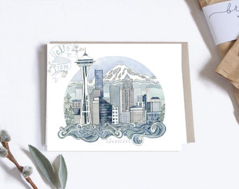 Postcard, City Illustration, Seattle Washington