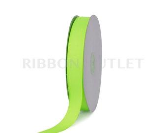 "7/8"" Bright Neon Green Grosgrain Ribbon 50 Yards Per Roll"