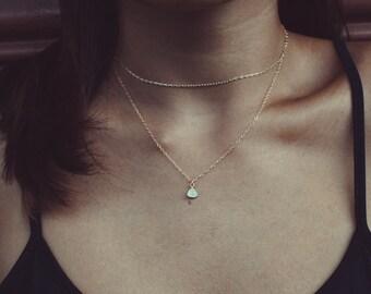 mini gemstone layering necklace // 14k gold-filled