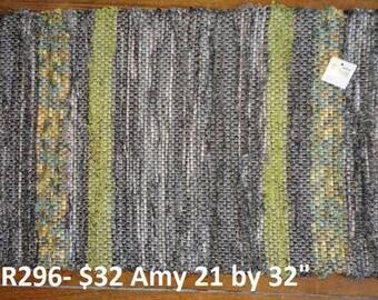Black/Charcoal with Olive Green Stripe Rag Rug R296