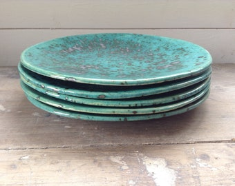Handmade organic ceramic 9in dinner plate speckled turquoise and silver. Perfect serving plate, tableware, kitchen pottery.